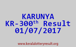 KARUNYA Lottery KR 300 Results 1-7-2017
