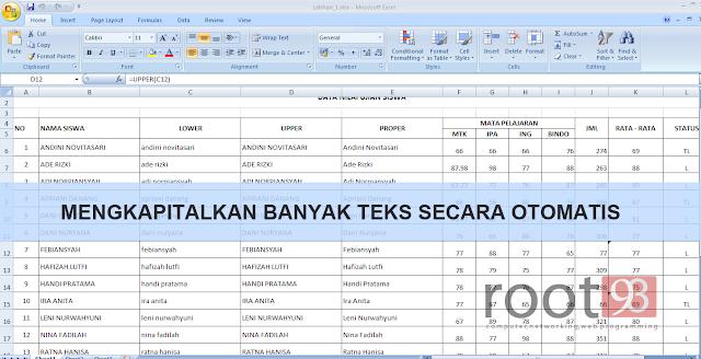 Memformat Huruf di Excel Menjadi Kapital Secara Otomatis