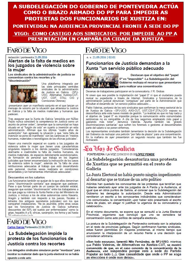 A Subdelegación do Goberno en Pontevedra impide as protestas dos funcionarios de Xustiza