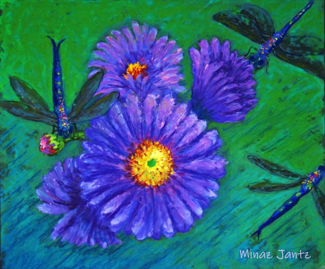Purple Daisies & Dragonflies by Minaz Jantz (Pastel)