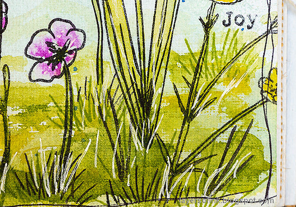 Layers of ink - Thoughtful Flowers Watercolor Garden Tutorial by Anna-Karin Evaldsson. Watercolor and stamped grass.