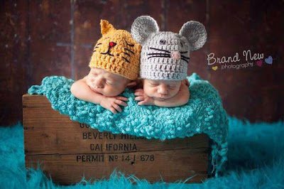 Cat and mouse hats for newborns, adorable props for newborn baby pictures.