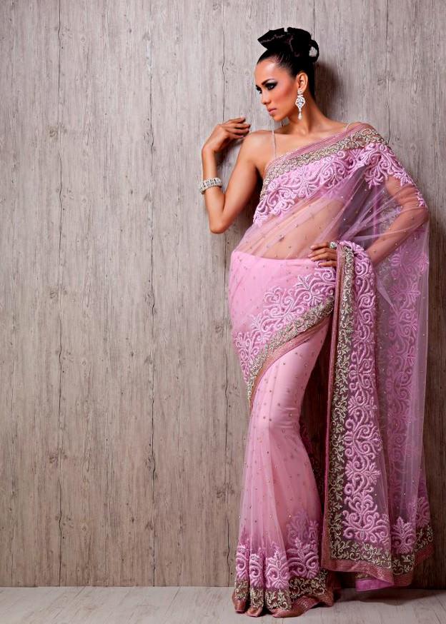 Orange Chiffon Its Fashion Metro Blouses Dark Brown: Meena Bazaar Latest Wedding Wear Dresses 2013 For Women
