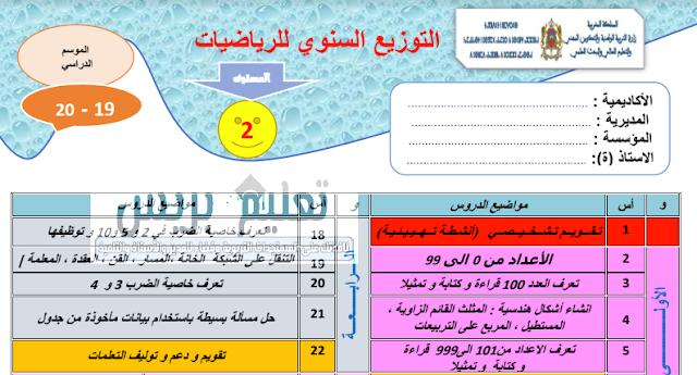 التوزيع السنوي لمادة الرياضيات للمستوى الثاني للموسم الدراسي 2019/2020