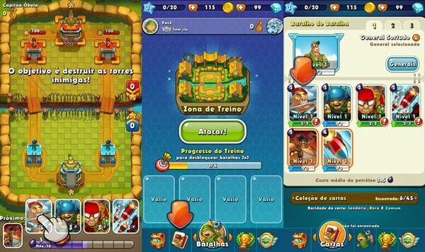Jungle Clash é um jogo de estratégia com batalhas PvP. Organize o seu baralho de personagens, veículos blindados e defesas para ter êxito nas batalhas.