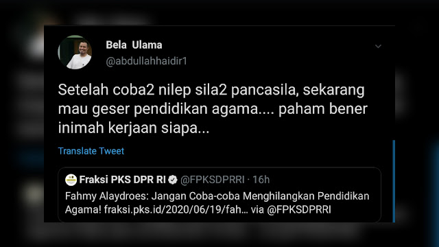"""""""Setelah Coba-coba Nilep Pancasila, Sekarang Mau Geser Pendidikan Agama"""""""