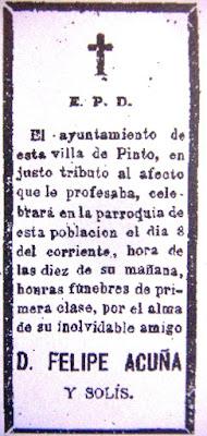 Esquela de Felipe de Acuña publicada por el Ayuntamiento de Pinto