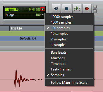Set the nudge value in Avid Pro Tools