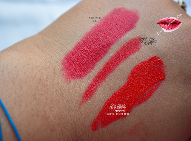 Long Lasting Liquid Lipstick 14 Arancio, Wycon Cosmetics,  swatch comparazione