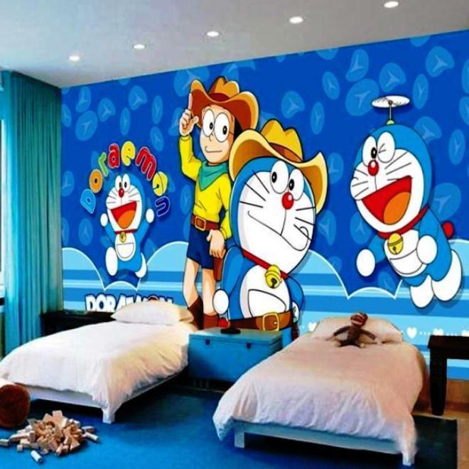 Desain Wallpaper Dinding Motif Doraemon Untuk Kamar Anak Laki-Laki