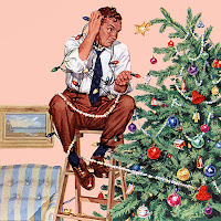 Painting by Norman Rockwell showing a man sitting on a step ladder by a tree. He is entangled in Christmas lights.