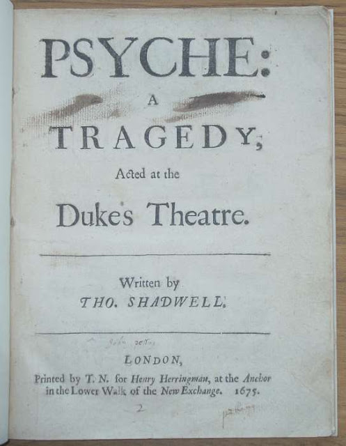 Libretto for Thomas Shadwell and Matthew Locke's Psyche (1675)
