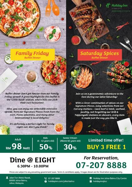Book Now! Promosi Buy 3 Free 1 Untuk Makan malam Family Friday Buffet Dinner Di Holiday Inn JBCC