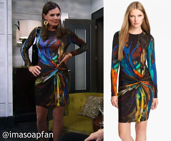 General Hospital, GH, Lucy Coe, Lynn Herring, Multicolored Abstract Print Dress