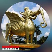 Gambar ilustrasi makhluk mitologi Lembuswana di Sungai Mahakam, Kalimantan Timur.