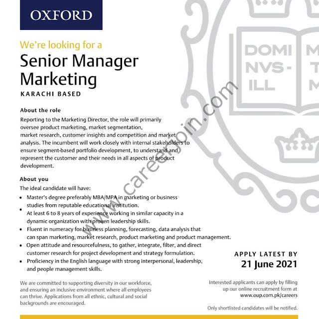 Oxford University Press Pakistan OUP Jobs Senior Manager Marketing