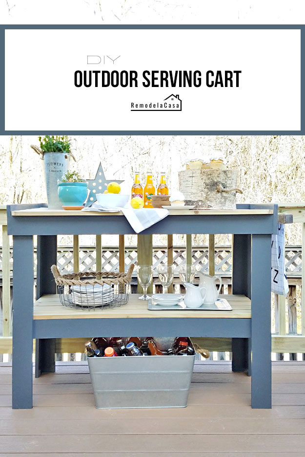 deck entertainment made easier with an outdoor cart full of goodies