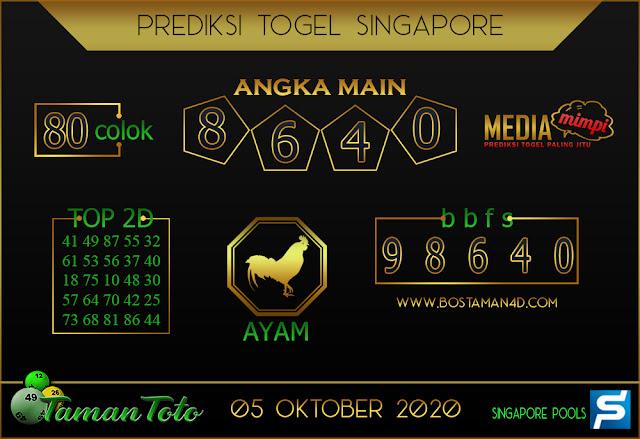Prediksi Togel SINGAPORE TAMAN TOTO 05 OKTOBER 2020