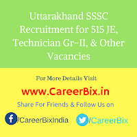 Uttarakhand SSSC Recruitment for 515 JE, Technician Gr-II, Steno Gr-III, Asst Accountant, Chemist, Draughtsman Vacancies