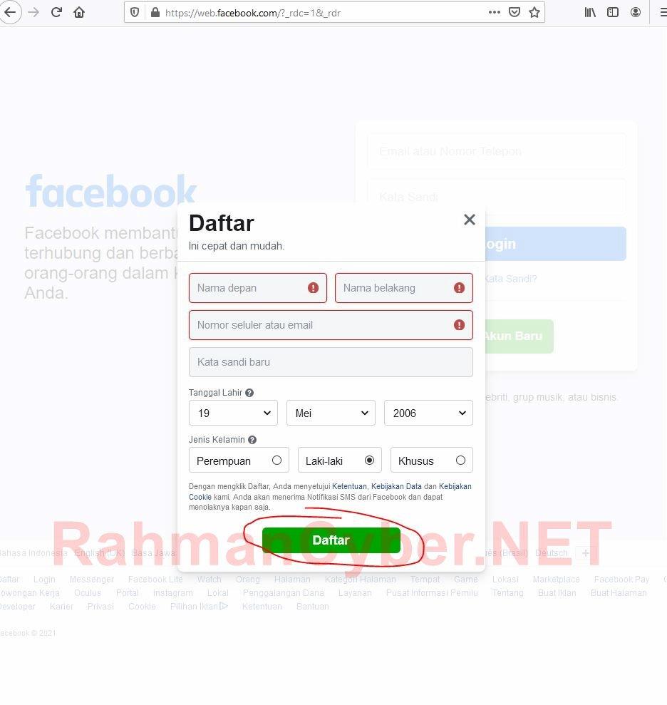 formulir daftar facebook