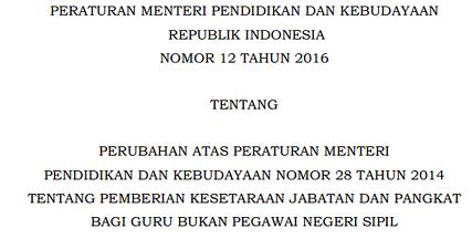 Penyetaraan Guru Non PNS Dalam Permendikbud RI No. 12 Tahun 2016