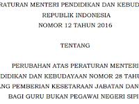 Informasi Penyetaraan Guru Non PNS Dalam Permendikbud RI No. 12 Tahun 2016