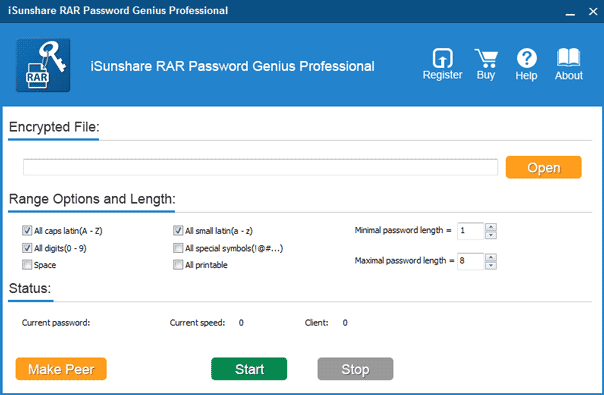 choose rar password genius professional