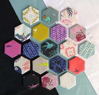 Cotton and Steel Honeymoon Fabric modern hexies quilt