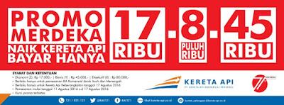 Promo Tiket Kereta Api Dalam Rangka HUT Kemerdekaan Republik Indonesia