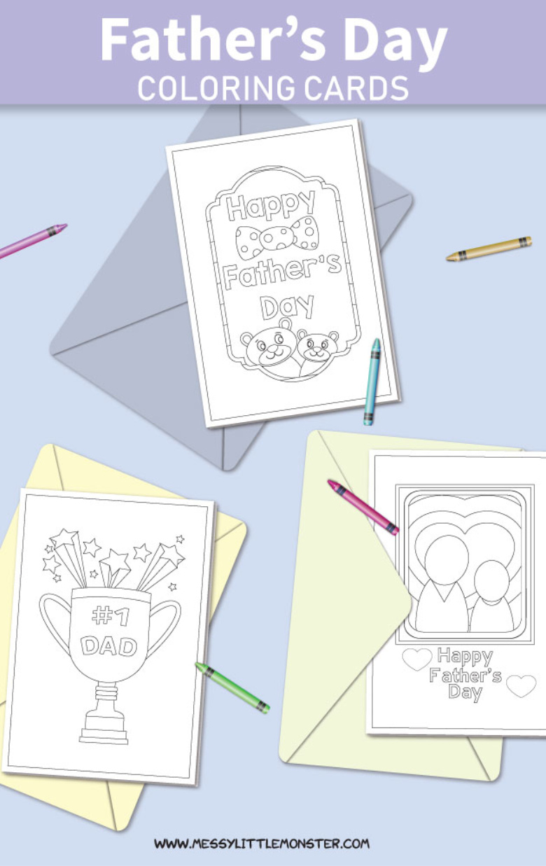 picture about Printable Cards to Color referred to as Printable Fathers Working day Playing cards toward Shade - Messy Minimal Monster