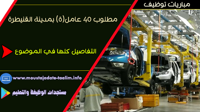 الوكالة الوطنية لإنعاش التشغيل والكفاءات (أنابيك):  مطلوب 40 عامل(ة) بمدينة القنيطرة