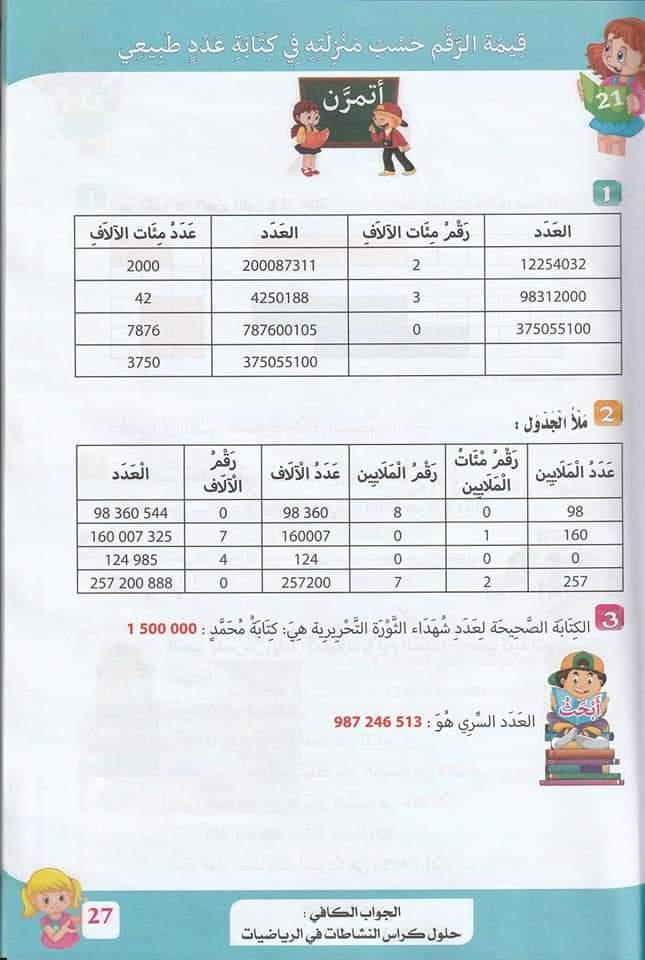 حلول تمارين كتاب أنشطة الرياضيات صفحة 28 للسنة الخامسة ابتدائي - الجيل الثاني