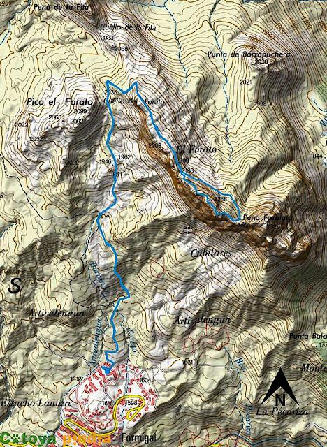 Mapa IGN con la ruta señalizada a Peña Foratata desde Formigal