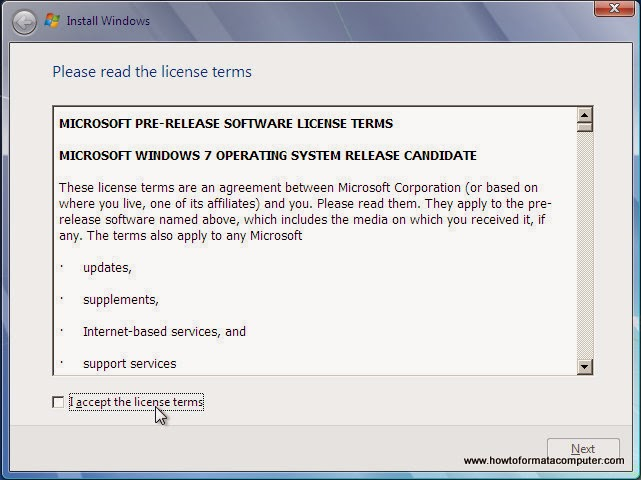 Install Windows 7 7 accept license terms
