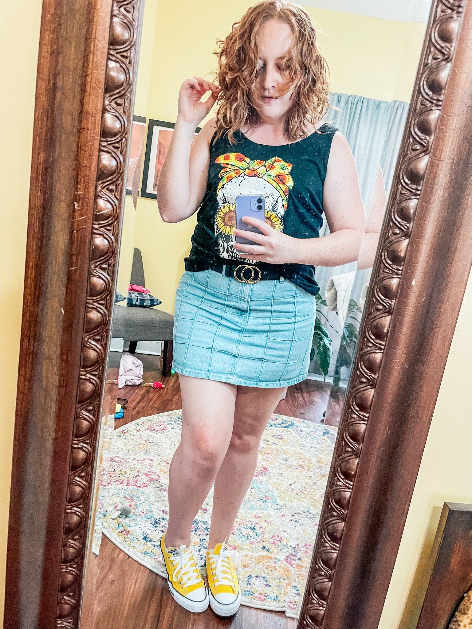 flower-skull-tank-denim-skirt
