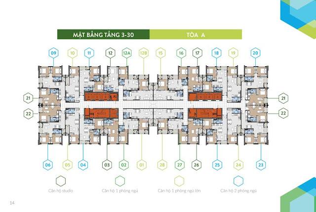 Mặt bằng tầng căn hộ điển hình tòa A