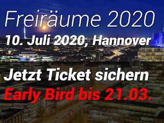 Jetzt Tickets für das freiräume.camp 2020 sichern. Early Bird Preis bis zum 21.03.2020