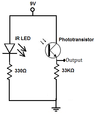 PROXIMITY SENSOR USING A PHOTO DIODE AND AN INFRARED LED