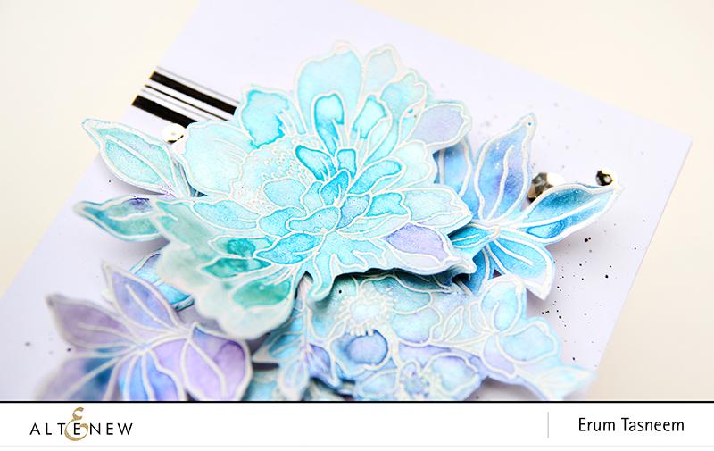 Altenew Floral Garden Stamp Set | Metallic Watercolour Pan Set | Erum Tasneem | @pr0digy0