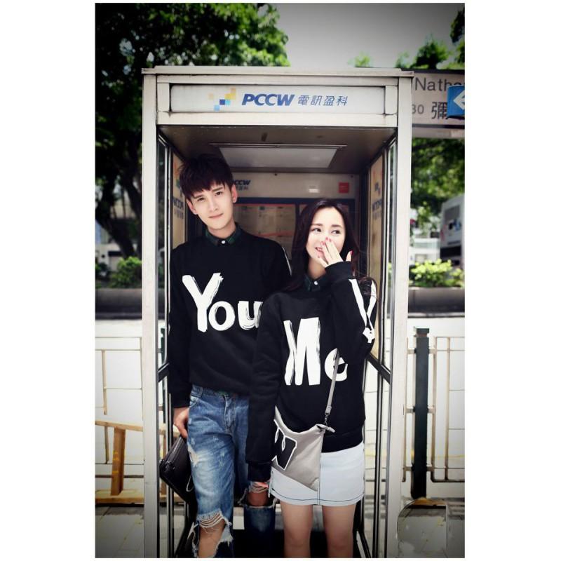 Jual Sweater Couple Sweater You Me Hitam - 24249
