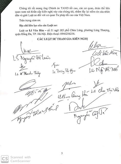 Đơn kiến nghị khẩn cấp vụ án Hồ Duy Hải: Dù muộn chúng tôi vẫn lên tiếng