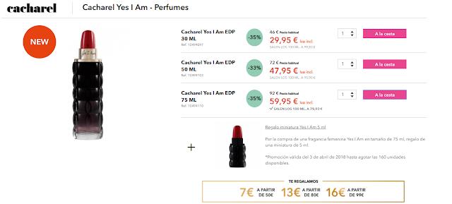 nuevo perfume Gourmand de Cacharel, Yes I Am barato Douglas