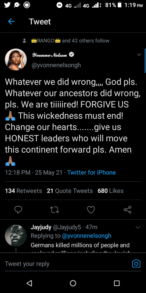 Forgive our Ancestors and Give us Leaders Who will Move This Continent Forward - Yvonne Nelson (SCREENSHOT)