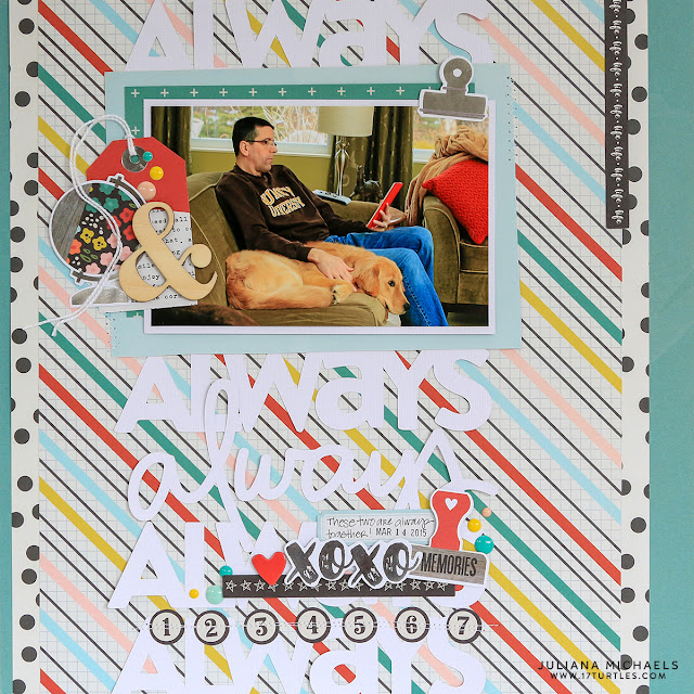 Always Scrapbook Page by Juliana Michaels featuring 17turtles Always Free Digital Cut File and Simple Stories Life In Color