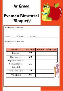 Examen del Bloque 4 Ciclo escolar 2016-2017 Primer grado