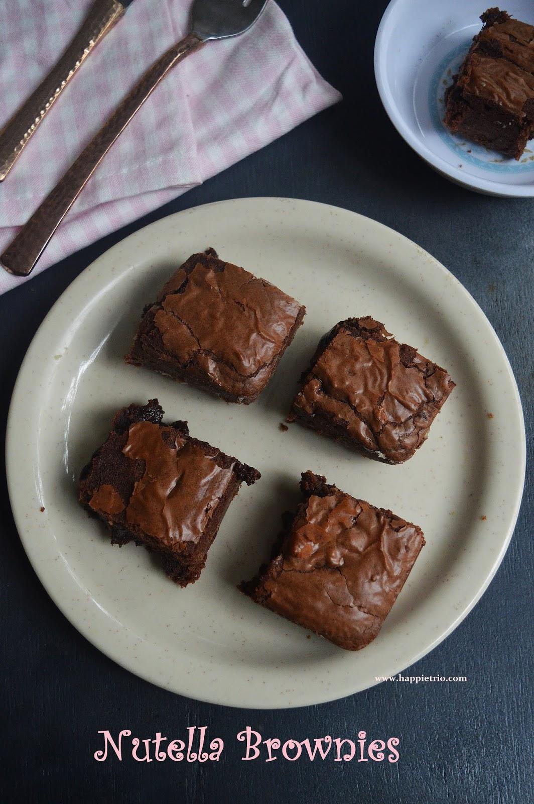 Nutella Brownies Recipe | 3 Ingredients Nutella Brownie Recipe