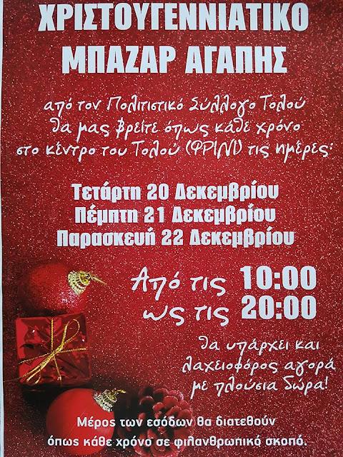 Χριστουγεννιάτικο Μπαζάρ Αγάπης από τον Πολιτιστικό Σύλλογο Τολού