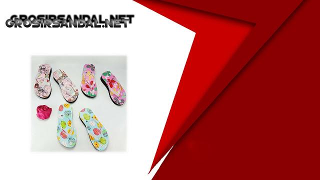 Wedges AMX Spon Tebal Motif Bunga Anak Langsung dari Produsen Sandal