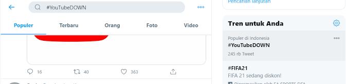 youtube down trending topic di twitter