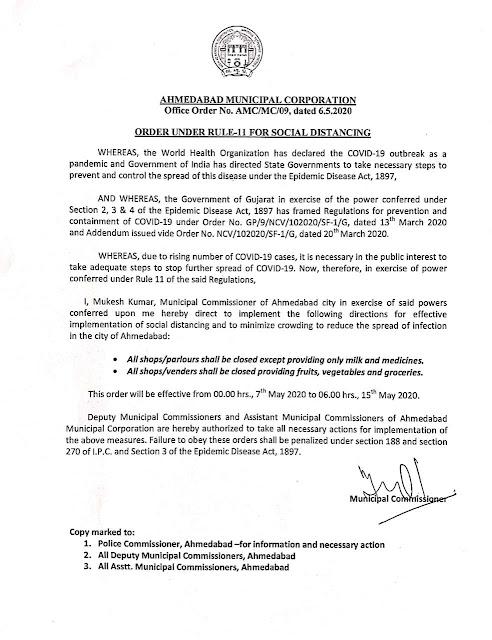 Ahemdabad municipal commissioner orders published